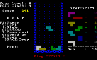 Uno screenshot di Tetris